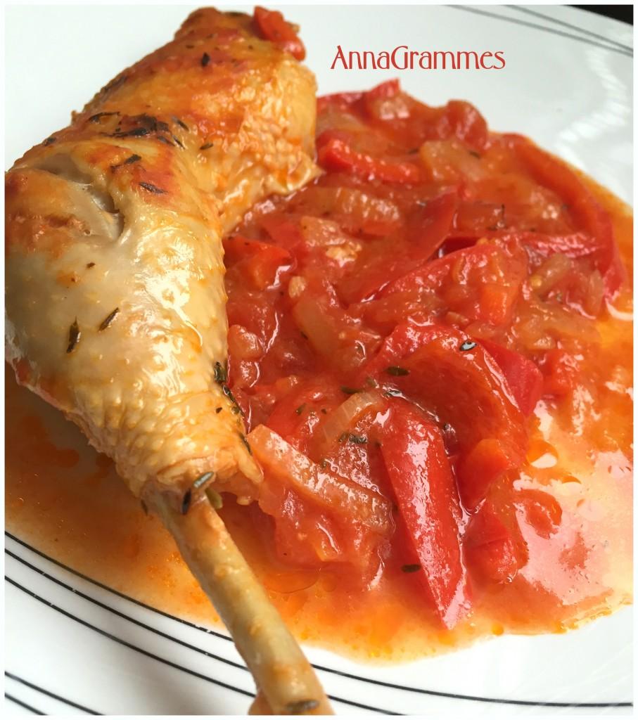 Le poulet basquaise annagrammes cuisine familiale - Cuisiner un poulet entier ...